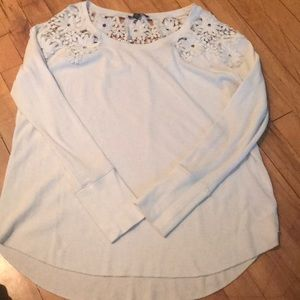 American Eagle Outfitters Tops - Waffle t-shirt with flowered collar